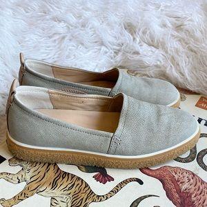Ecco crepetray gray leather slip on sneakers
